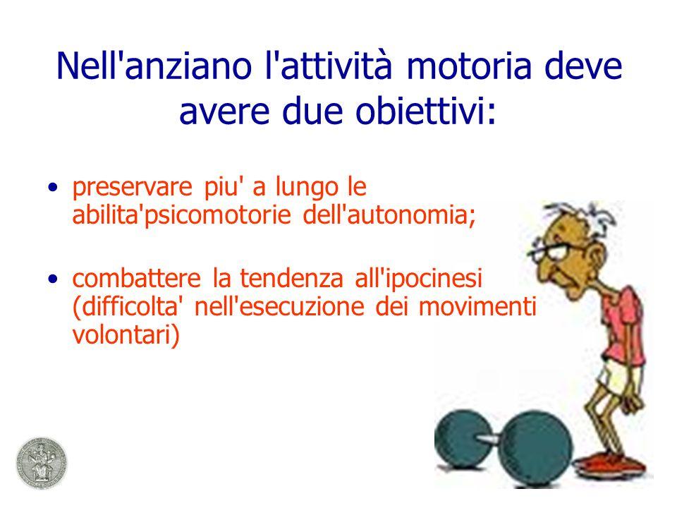 Nell anziano l attività motoria deve avere due obiettivi: preservare piu a lungo le abilita psicomotorie dell autonomia; combattere la tendenza all ipocinesi (difficolta nell esecuzione dei movimenti volontari)