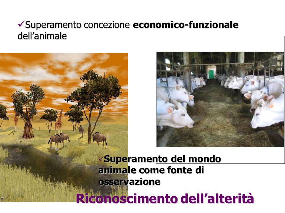 Superamento concezione economico-funzionale dell'animale Superamento concezione economico-funzionale dell'animale Riconoscimento dell'alterità Superamento del mondo animale come fonte di osservazione