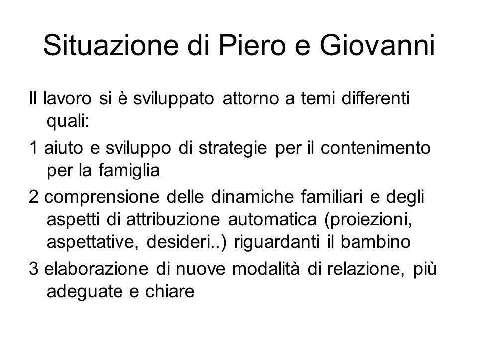Situazione di Piero e Giovanni Il lavoro si è sviluppato attorno a temi differenti quali: 1 aiuto e sviluppo di strategie per il contenimento per la f