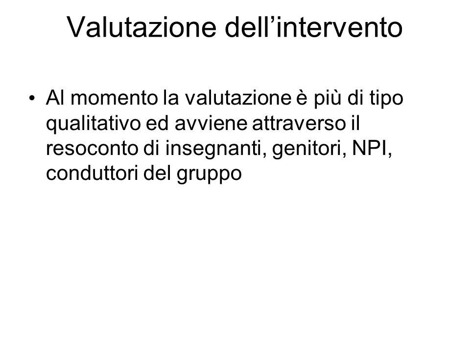 Valutazione dell'intervento Al momento la valutazione è più di tipo qualitativo ed avviene attraverso il resoconto di insegnanti, genitori, NPI, condu