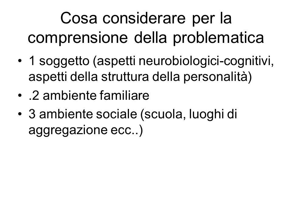 Cosa considerare per la comprensione della problematica 1 soggetto (aspetti neurobiologici-cognitivi, aspetti della struttura della personalità).2 amb