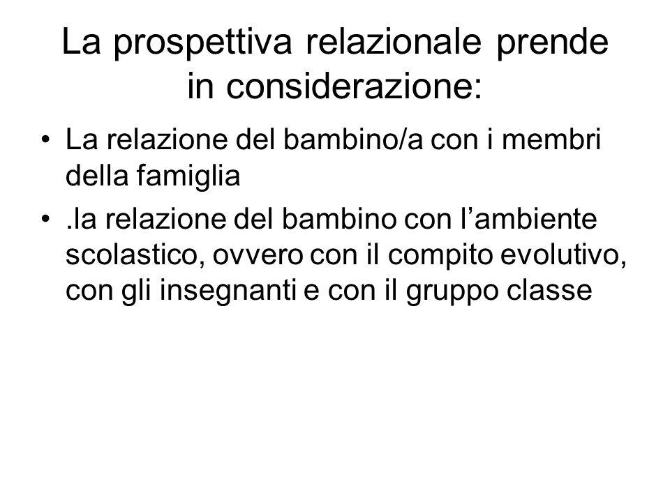 La prospettiva relazionale prende in considerazione: La relazione del bambino/a con i membri della famiglia.la relazione del bambino con l'ambiente sc
