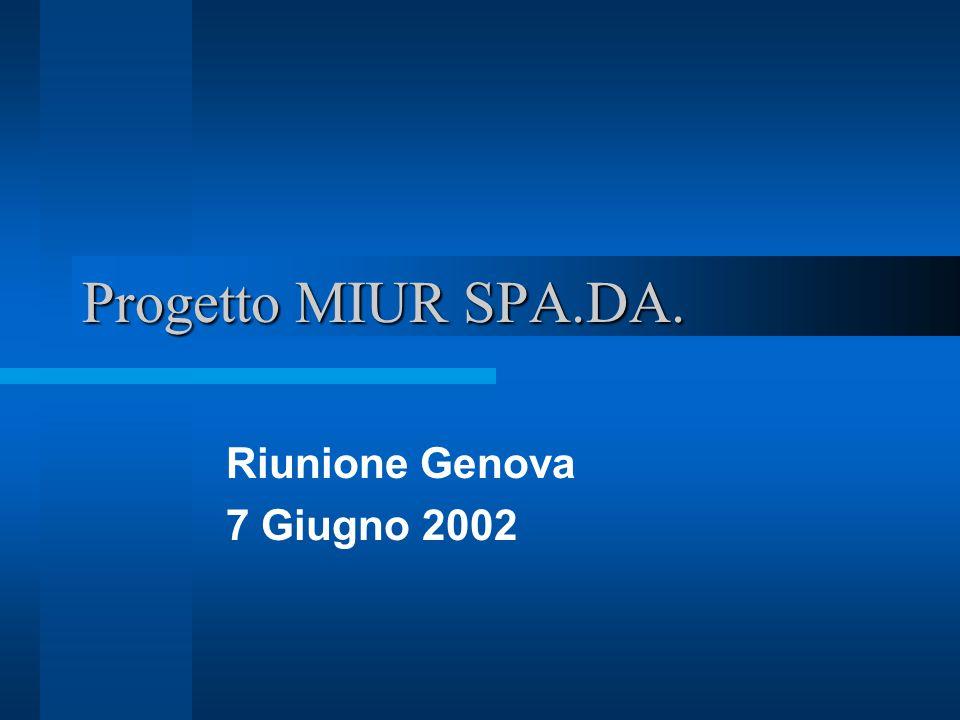 Progetto MIUR SPA.DA. Riunione Genova 7 Giugno 2002