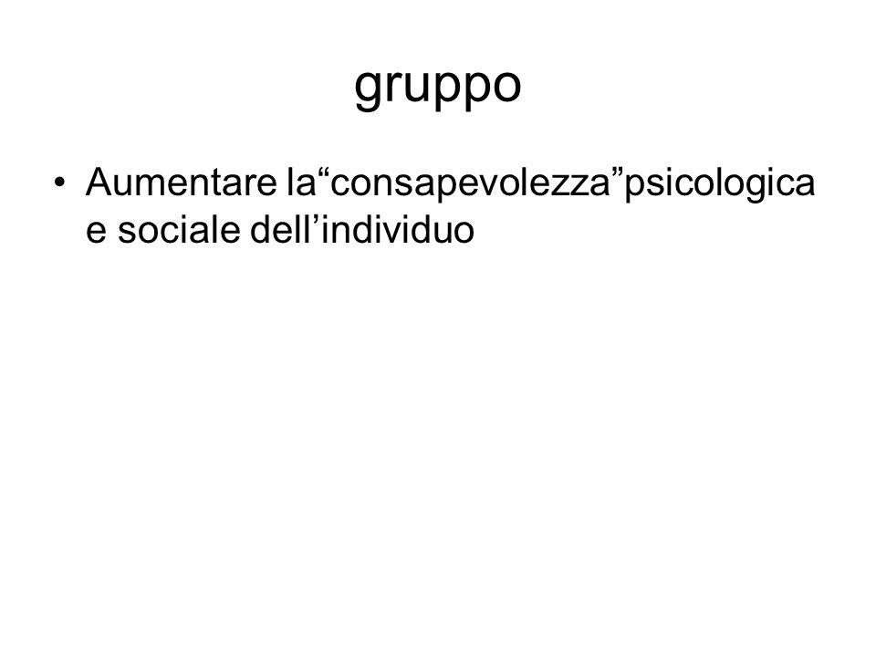 gruppo Aumentare la consapevolezza psicologica e sociale dell'individuo