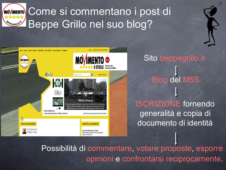 Come si commentano i post di Beppe Grillo nel suo blog? Possibilità di commentare, votare proposte, esporre opinioni e confrontarsi reciprocamente. Si