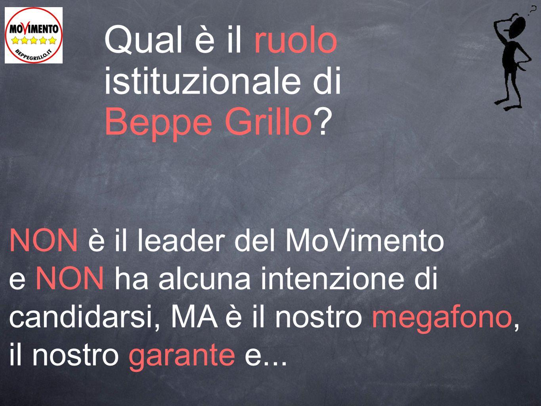 Qual è il ruolo istituzionale di Beppe Grillo? NON è il leader del MoVimento e NON ha alcuna intenzione di candidarsi, MA è il nostro megafono, il nos