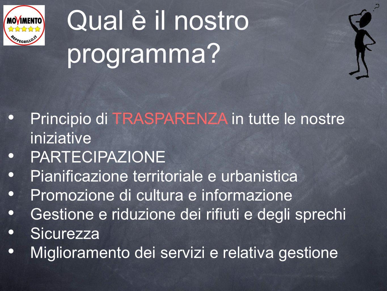 Qual è il nostro programma? Principio di TRASPARENZA in tutte le nostre iniziative PARTECIPAZIONE Pianificazione territoriale e urbanistica Promozione
