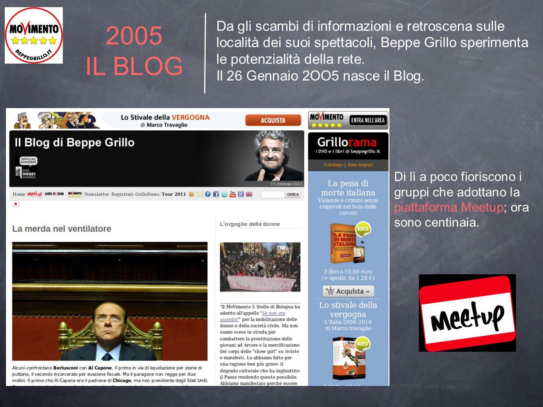 2005 IL BLOG Da gli scambi di informazioni e retroscena sulle località dei suoi spettacoli, Beppe Grillo sperimenta le potenzialità della rete. Il 26