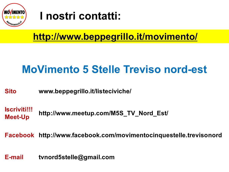I nostri contatti: MoVimento 5 Stelle Treviso nord-est Sitowww.beppegrillo.it/listeciviche/ Iscriviti!!! Meet-Up http://www.meetup.com/M5S_TV_Nord_Est