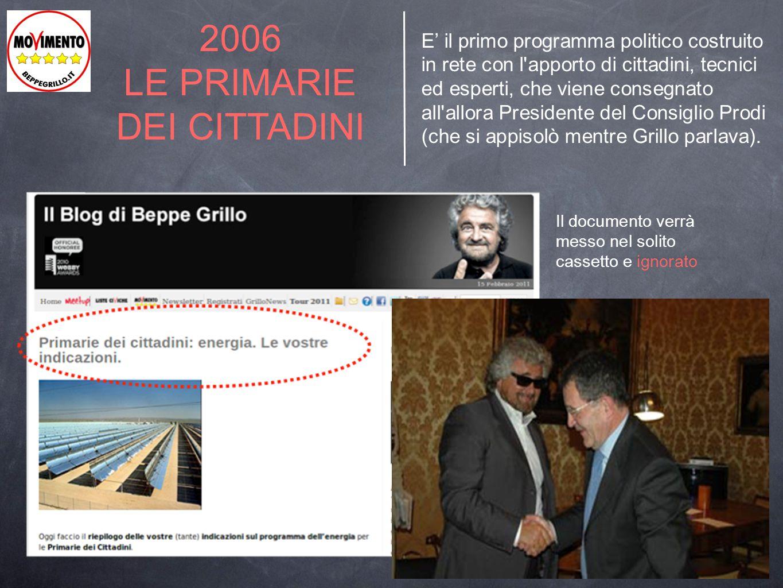 2006 LE PRIMARIE DEI CITTADINI E' il primo programma politico costruito in rete con l'apporto di cittadini, tecnici ed esperti, che viene consegnato a