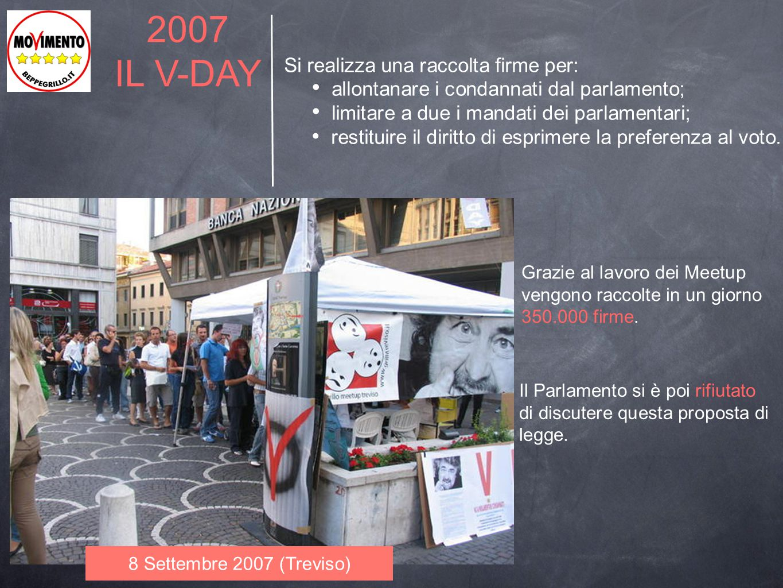 2007 IL V-DAY Si realizza una raccolta firme per: allontanare i condannati dal parlamento; limitare a due i mandati dei parlamentari; restituire il di