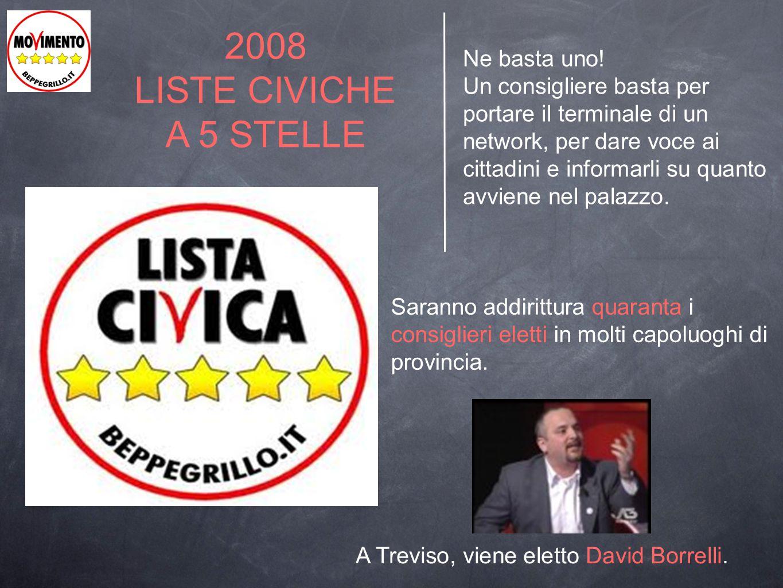 2009 NASCE IL MOVIMENTO 5 STELLE Il primo traguardo sono le elezioni regionali 2010: eletti 4 consiglieri regionali (in Veneto David Borrelli supera il 3% dei consensi).
