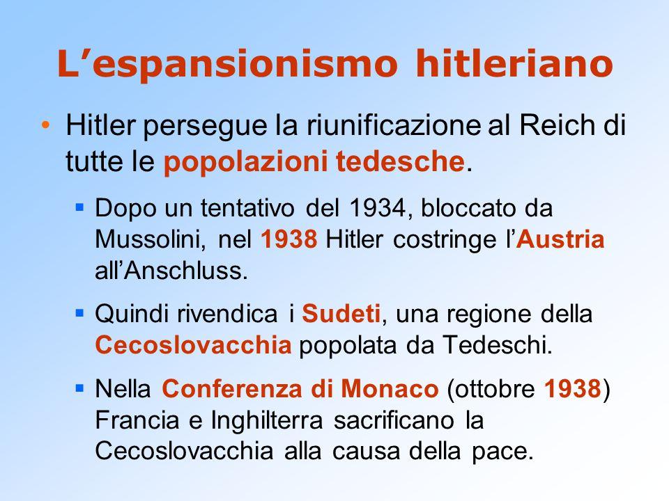 L'espansionismo hitleriano Hitler persegue la riunificazione al Reich di tutte le popolazioni tedesche.  Dopo un tentativo del 1934, bloccato da Muss