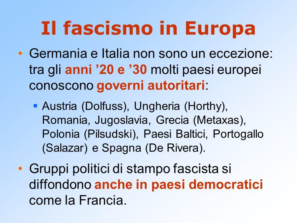 Il fascismo in Europa Germania e Italia non sono un eccezione: tra gli anni '20 e '30 molti paesi europei conoscono governi autoritari:  Austria (Dolfuss), Ungheria (Horthy), Romania, Jugoslavia, Grecia (Metaxas), Polonia (Pilsudski), Paesi Baltici, Portogallo (Salazar) e Spagna (De Rivera).