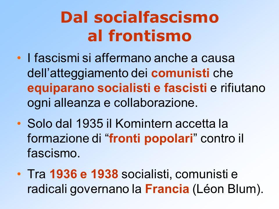 Dal socialfascismo al frontismo I fascismi si affermano anche a causa dell'atteggiamento dei comunisti che equiparano socialisti e fascisti e rifiutano ogni alleanza e collaborazione.