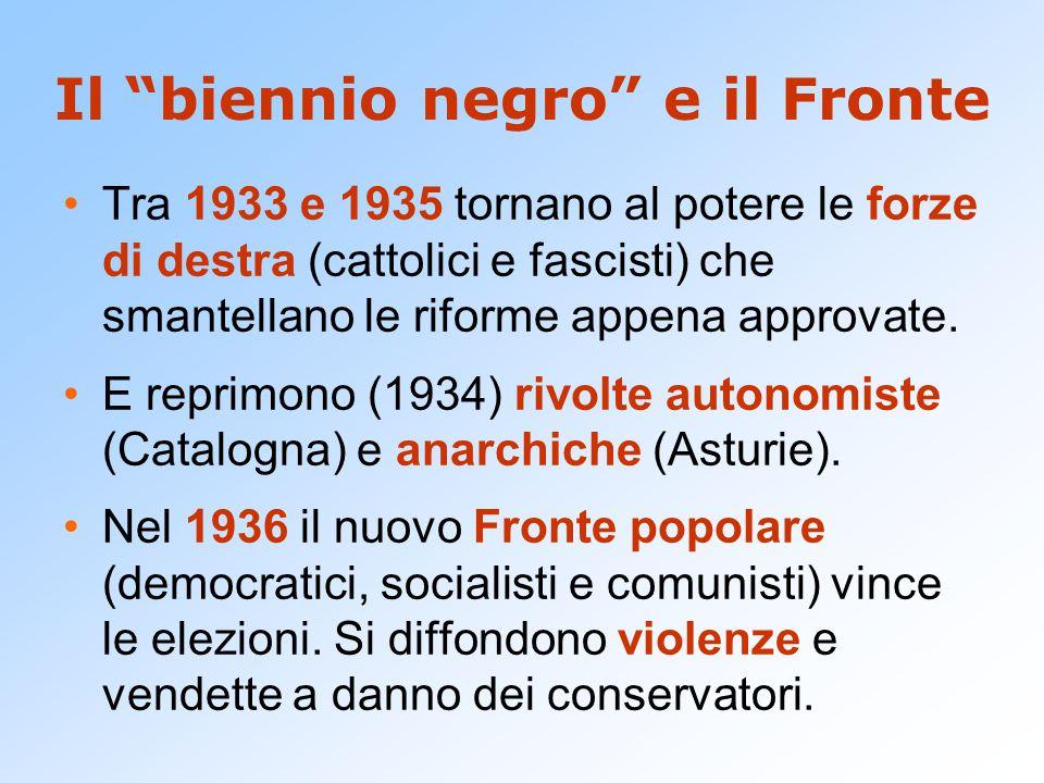 Il biennio negro e il Fronte Tra 1933 e 1935 tornano al potere le forze di destra (cattolici e fascisti) che smantellano le riforme appena approvate.