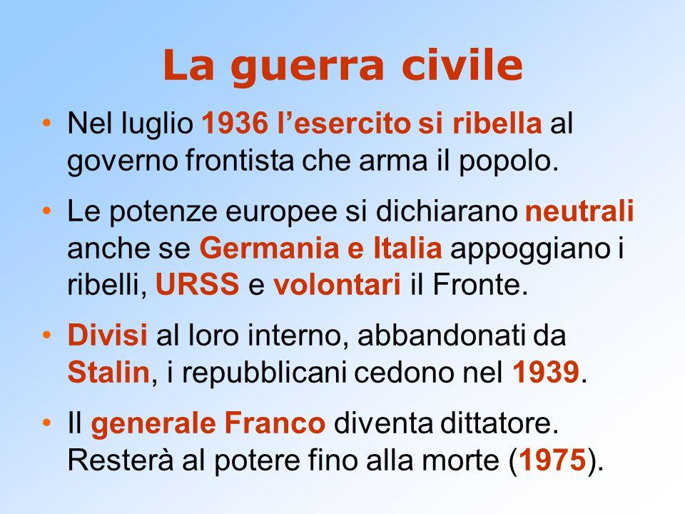 La guerra civile Nel luglio 1936 l'esercito si ribella al governo frontista che arma il popolo. Le potenze europee si dichiarano neutrali anche se Ger
