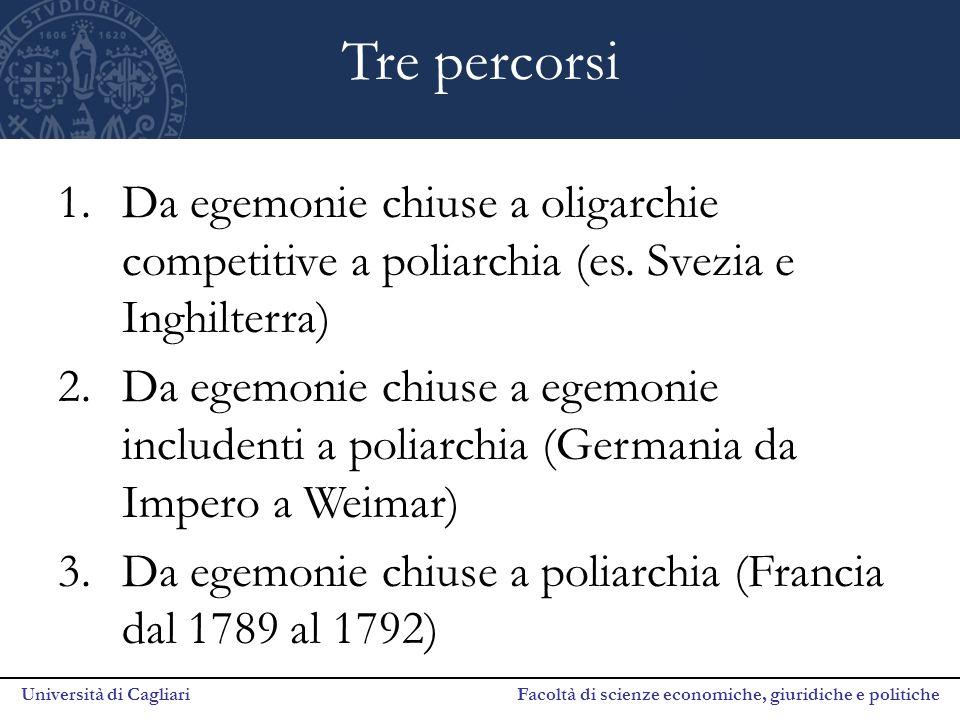Università di Cagliari Facoltà di scienze economiche, giuridiche e politiche Tre percorsi 1.Da egemonie chiuse a oligarchie competitive a poliarchia (