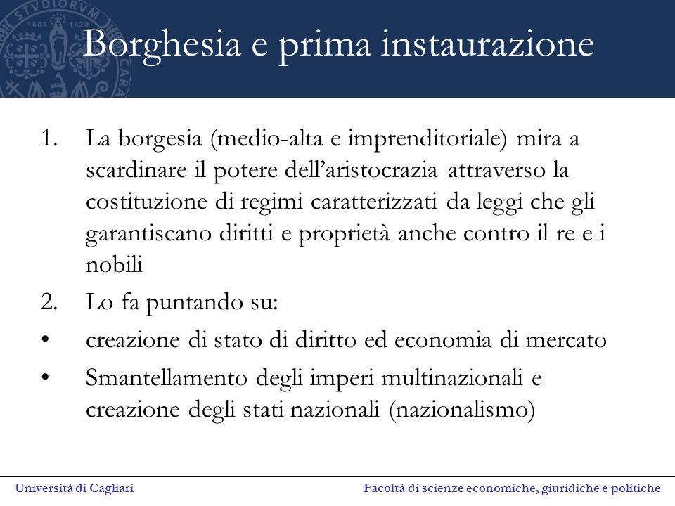 Università di Cagliari Facoltà di scienze economiche, giuridiche e politiche Borghesia e prima instaurazione 1.La borgesia (medio-alta e imprenditoria