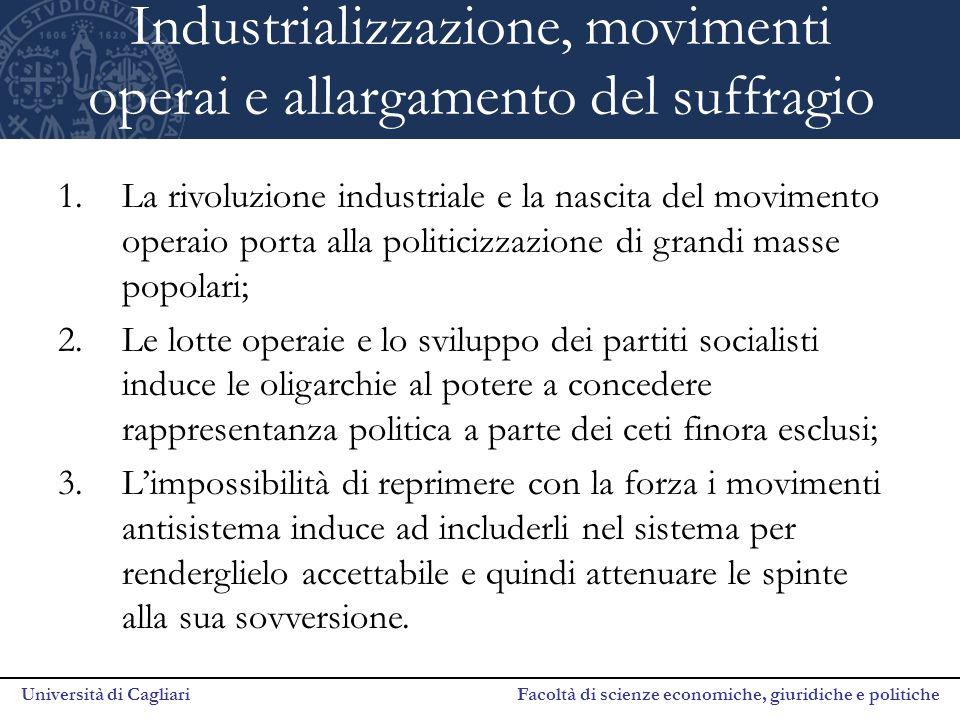 Università di Cagliari Facoltà di scienze economiche, giuridiche e politiche Industrializzazione, movimenti operai e allargamento del suffragio 1.La r