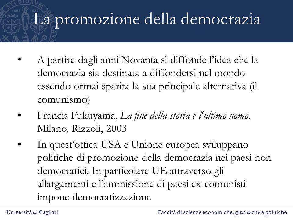 Università di Cagliari Facoltà di scienze economiche, giuridiche e politiche La promozione della democrazia A partire dagli anni Novanta si diffonde l