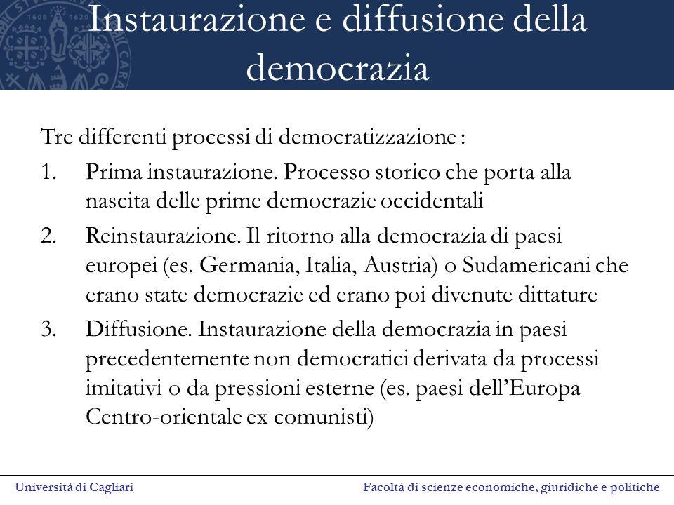 Università di Cagliari Facoltà di scienze economiche, giuridiche e politiche Instaurazione e diffusione della democrazia Tre differenti processi di de