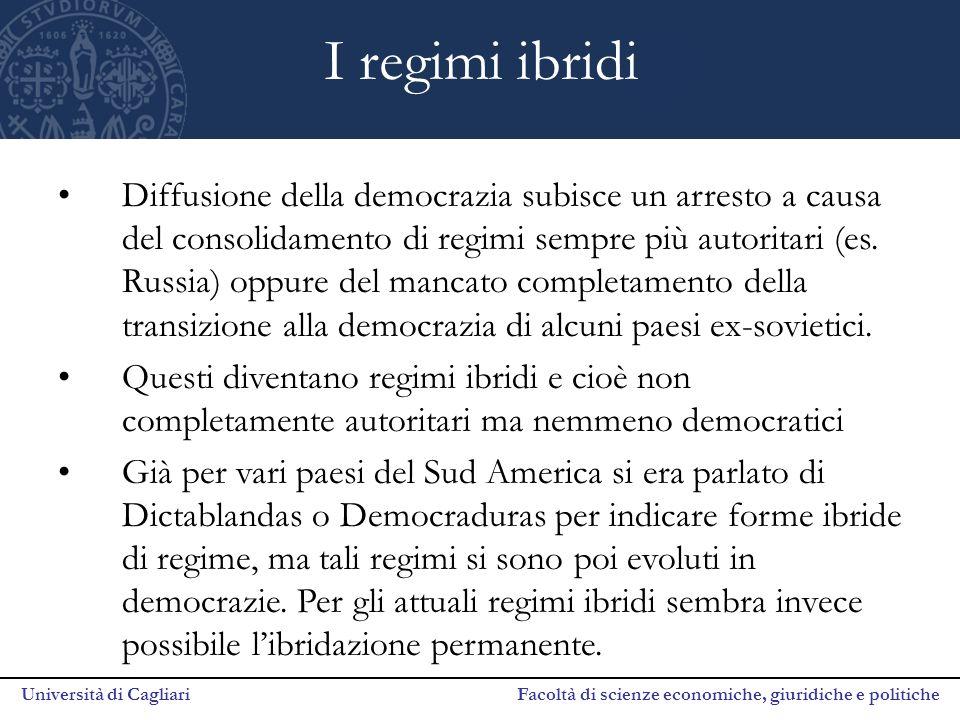 Università di Cagliari Facoltà di scienze economiche, giuridiche e politiche I regimi ibridi Diffusione della democrazia subisce un arresto a causa de