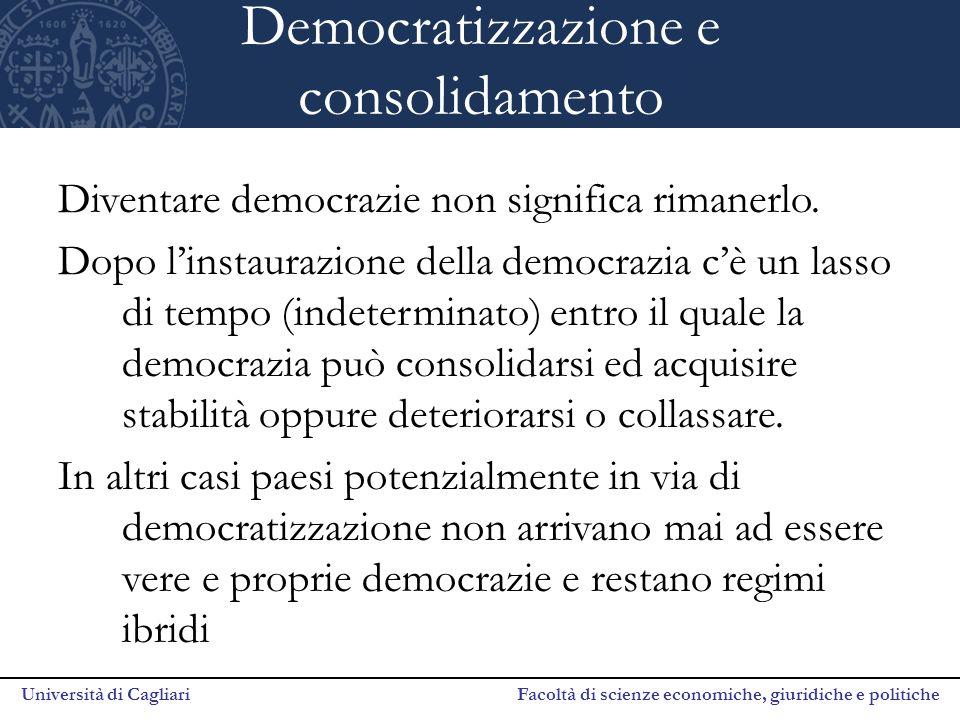 Università di Cagliari Facoltà di scienze economiche, giuridiche e politiche Democratizzazione e consolidamento Diventare democrazie non significa rim