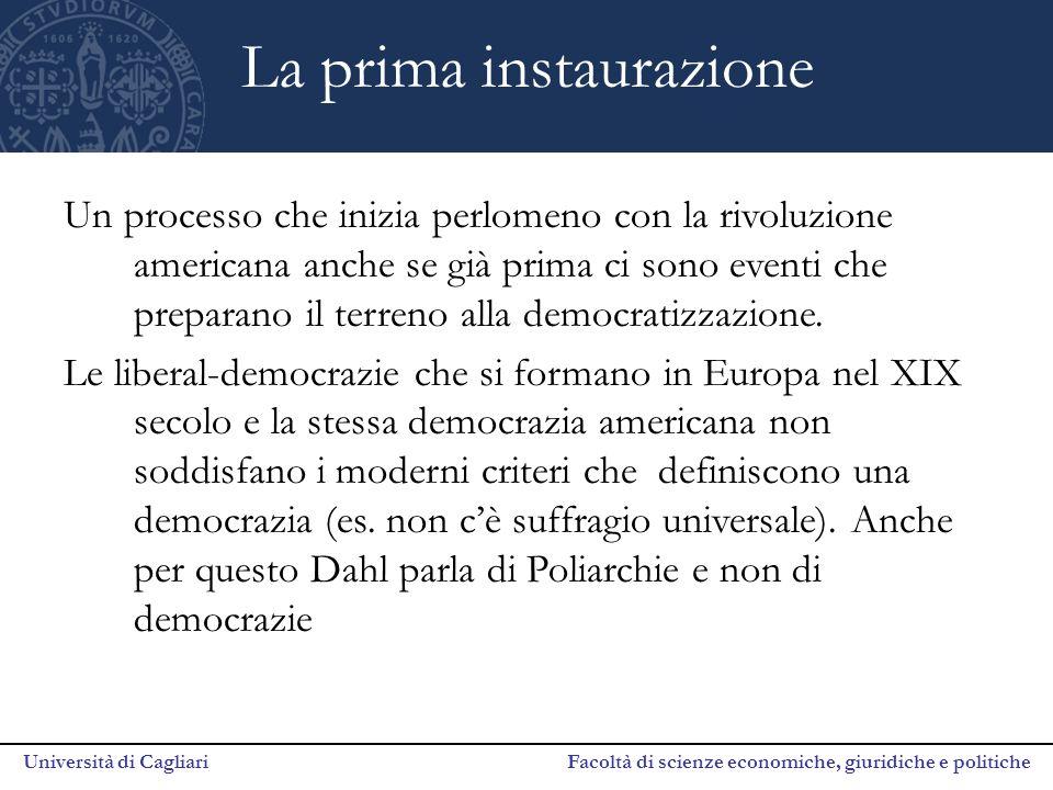 Università di Cagliari Facoltà di scienze economiche, giuridiche e politiche La prima instaurazione Un processo che inizia perlomeno con la rivoluzion