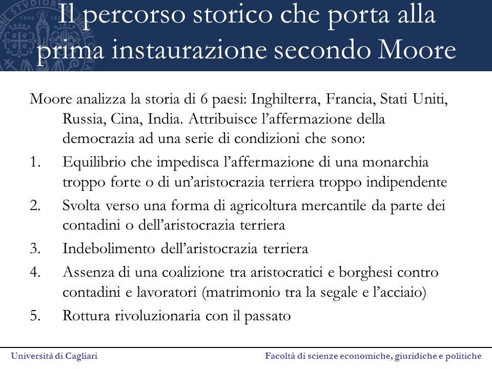 Università di Cagliari Facoltà di scienze economiche, giuridiche e politiche Il percorso storico che porta alla prima instaurazione secondo Moore Moor