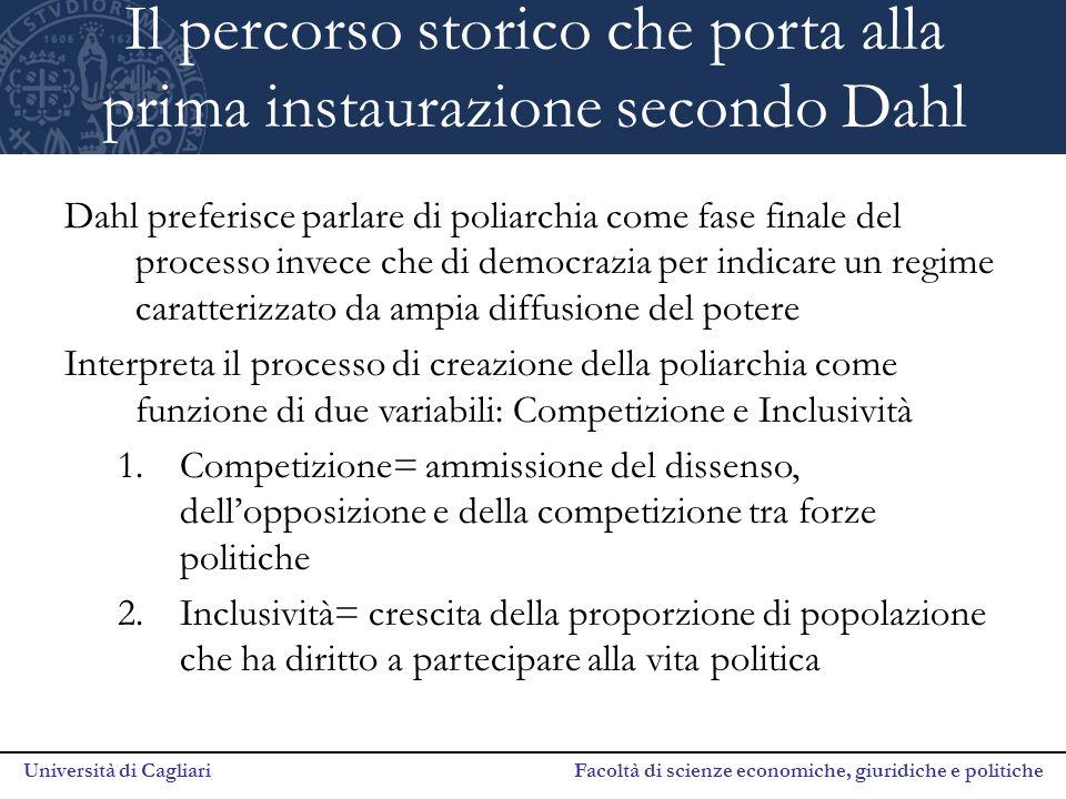 Università di Cagliari Facoltà di scienze economiche, giuridiche e politiche Il percorso storico che porta alla prima instaurazione secondo Dahl Dahl