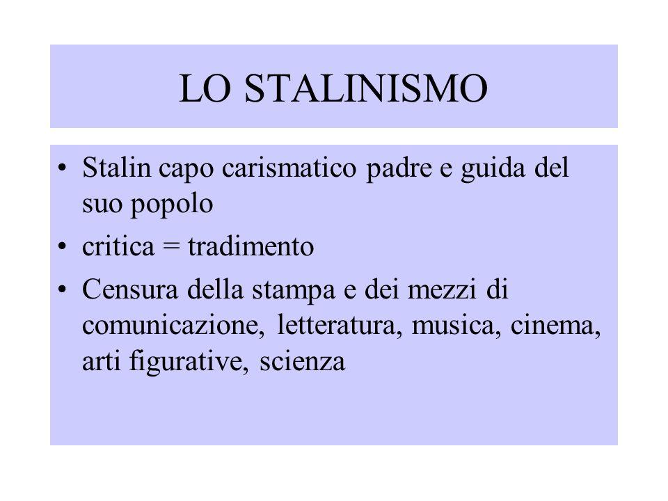 LO STALINISMO Stalin capo carismatico padre e guida del suo popolo critica = tradimento Censura della stampa e dei mezzi di comunicazione, letteratura