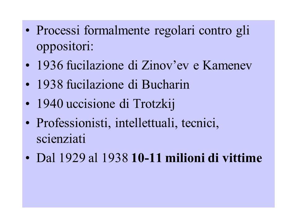 Processi formalmente regolari contro gli oppositori: 1936 fucilazione di Zinov'ev e Kamenev 1938 fucilazione di Bucharin 1940 uccisione di Trotzkij Pr