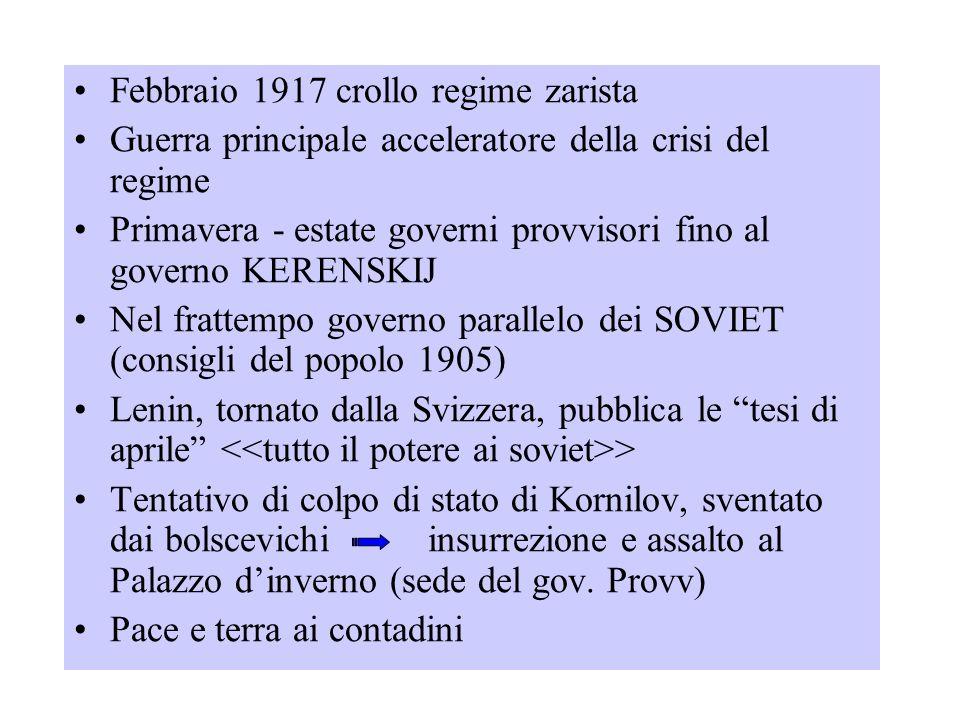 Febbraio 1917 crollo regime zarista Guerra principale acceleratore della crisi del regime Primavera - estate governi provvisori fino al governo KERENS
