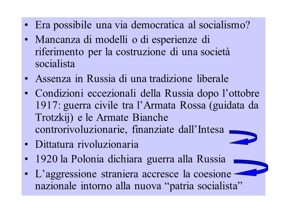 Stalin sviluppò alcune premesse autoritarie di Lenin ma introdusse SPIETATEZZA E ARBITRIO Emarginazione e sterminio fisico degli oppositori politici, dei quadri dirigenti del partito, di migliaia di cittadini sospettati di deviazionismo 1934 inizia il periodo delle grandi purghe per combattere traditori e nemici di classe Gigantesca repressione poliziesca Milioni di persone chiuse nei lager Arcipelago Gulag (amministrazione centrale dei lager)