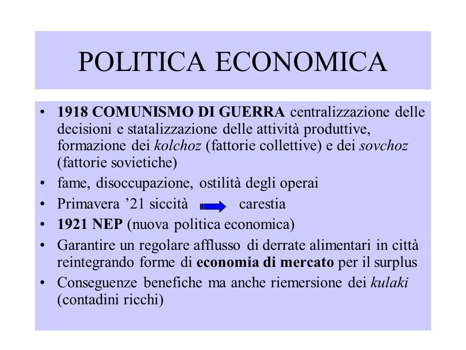 POLITICA ECONOMICA 1918 COMUNISMO DI GUERRA centralizzazione delle decisioni e statalizzazione delle attività produttive, formazione dei kolchoz (fatt