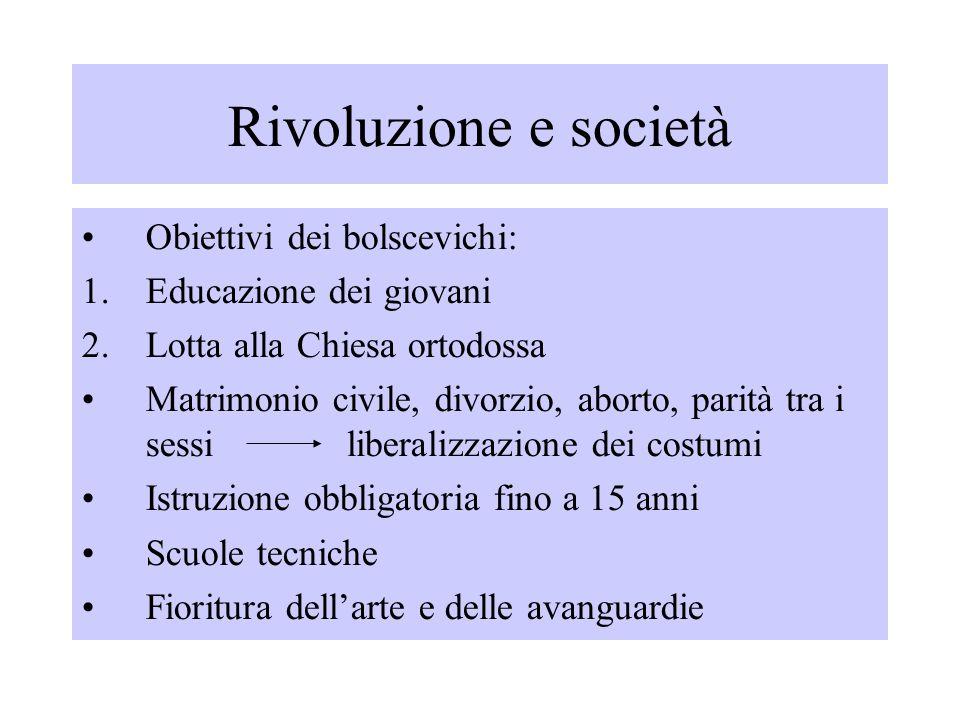 Rivoluzione e società Obiettivi dei bolscevichi: 1.Educazione dei giovani 2.Lotta alla Chiesa ortodossa Matrimonio civile, divorzio, aborto, parità tr