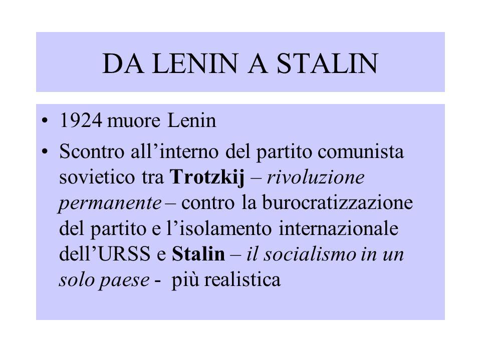 1924-'25 le potenze europee riconoscono lo Stato sovietico rafforzamento delle tesi di Stalin e progressiva emarginazione di Trotzkij Stalin liquida l'opposizione di sinistra (Trotzkij deportato poi espulso, ucciso da un sicario in Messico nel 1940)