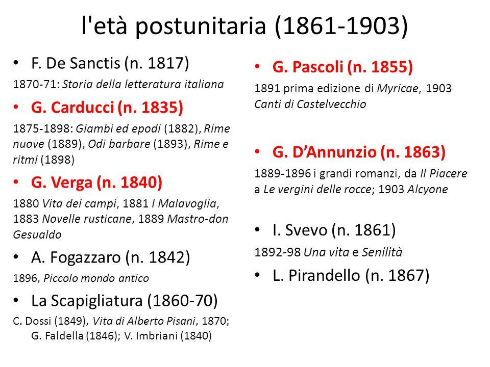 l'età postunitaria (1861-1903) F. De Sanctis (n. 1817) 1870-71: Storia della letteratura italiana G. Carducci (n. 1835) 1875-1898: Giambi ed epodi (18