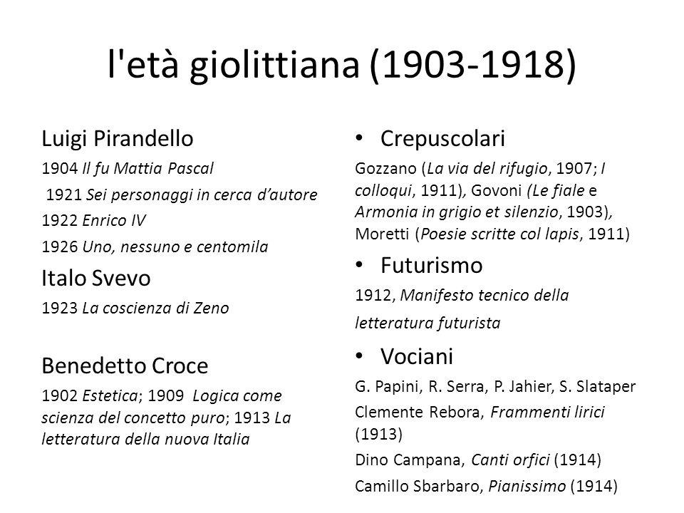 Tra le due guerre (1918-1945) La Ronda (1919- 23) Solaria (1926- 36) Tre grandi poeti Saba (1883) Ungaretti (1888) Montale (1896) Gadda, classe 1893 Cardarelli (Poesie: 1936), Cecchi (Pesci rossi: 1920), Bacchelli (Il mulino del Po: 1938-40) E.