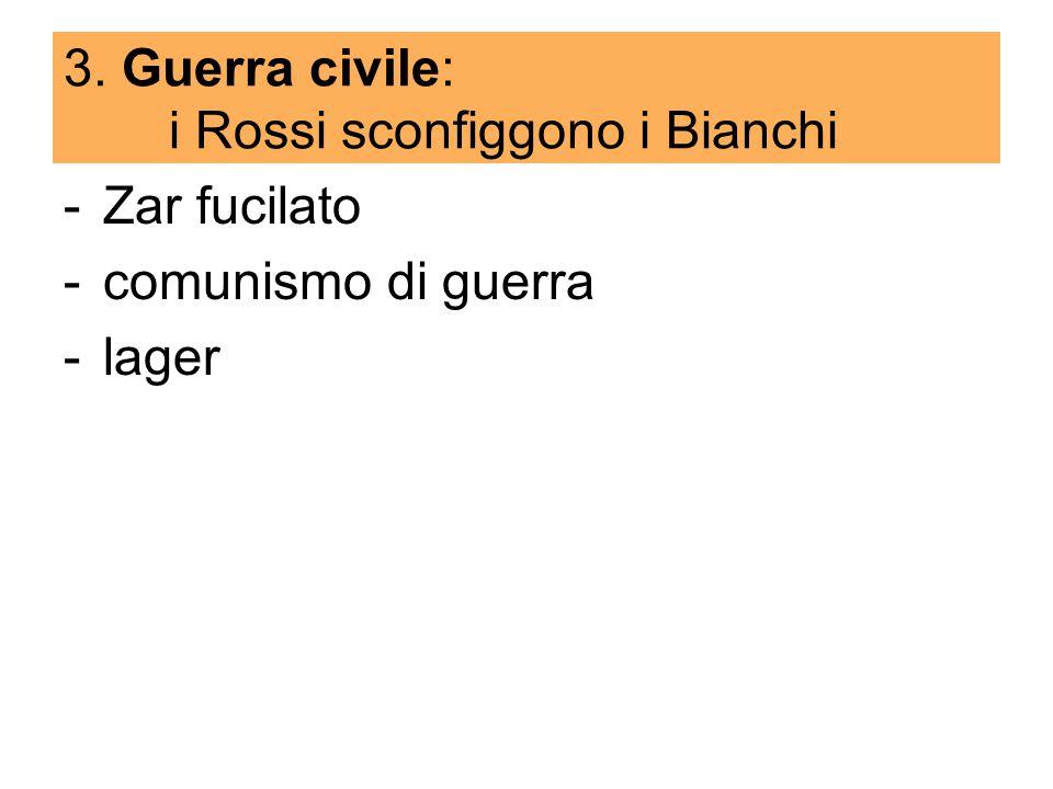 3. Guerra civile: i Rossi sconfiggono i Bianchi -Zar fucilato -comunismo di guerra -lager