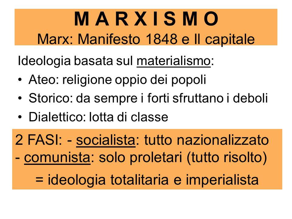 M A R X I S M O Marx: Manifesto 1848 e Il capitale Ideologia basata sul materialismo: Ateo: religione oppio dei popoli Storico: da sempre i forti sfruttano i deboli Dialettico: lotta di classe 2 FASI: - socialista: tutto nazionalizzato - comunista: solo proletari (tutto risolto) = ideologia totalitaria e imperialista