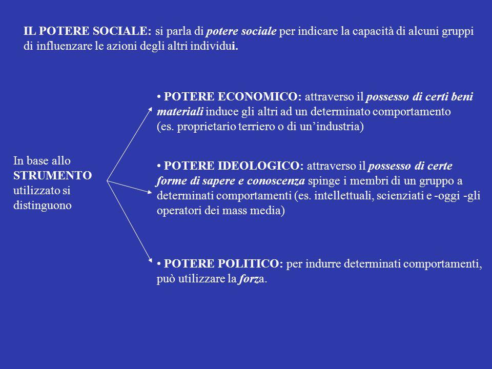 IL POTERE SOCIALE: si parla di potere sociale per indicare la capacità di alcuni gruppi di influenzare le azioni degli altri individui. In base allo S