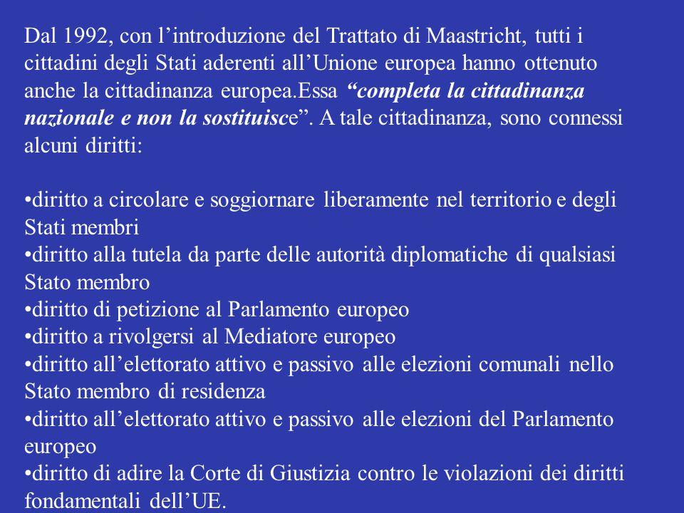 Dal 1992, con l'introduzione del Trattato di Maastricht, tutti i cittadini degli Stati aderenti all'Unione europea hanno ottenuto anche la cittadinanz