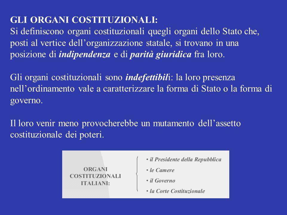 GLI ORGANI COSTITUZIONALI: Si definiscono organi costituzionali quegli organi dello Stato che, posti al vertice dell'organizzazione statale, si trovan