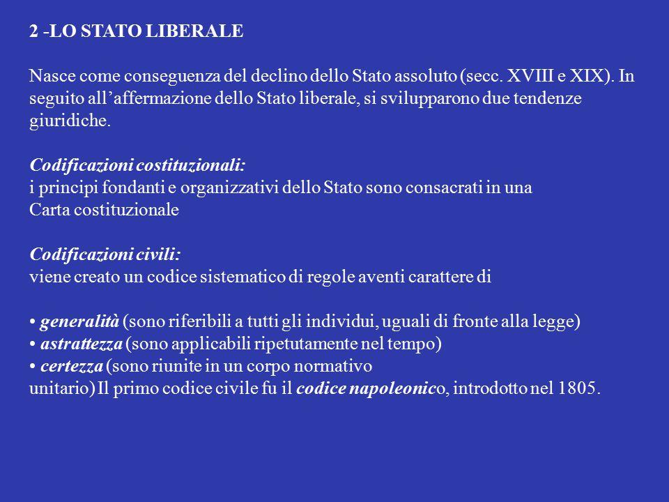 2 -LO STATO LIBERALE Nasce come conseguenza del declino dello Stato assoluto (secc. XVIII e XIX). In seguito all'affermazione dello Stato liberale, si