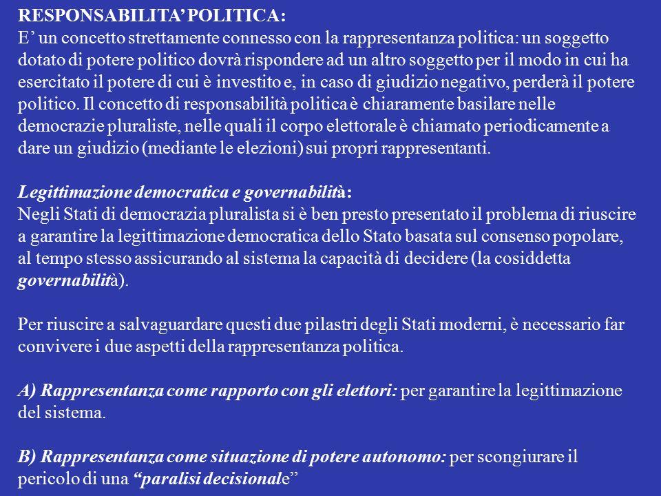 RESPONSABILITA' POLITICA: E' un concetto strettamente connesso con la rappresentanza politica: un soggetto dotato di potere politico dovrà rispondere