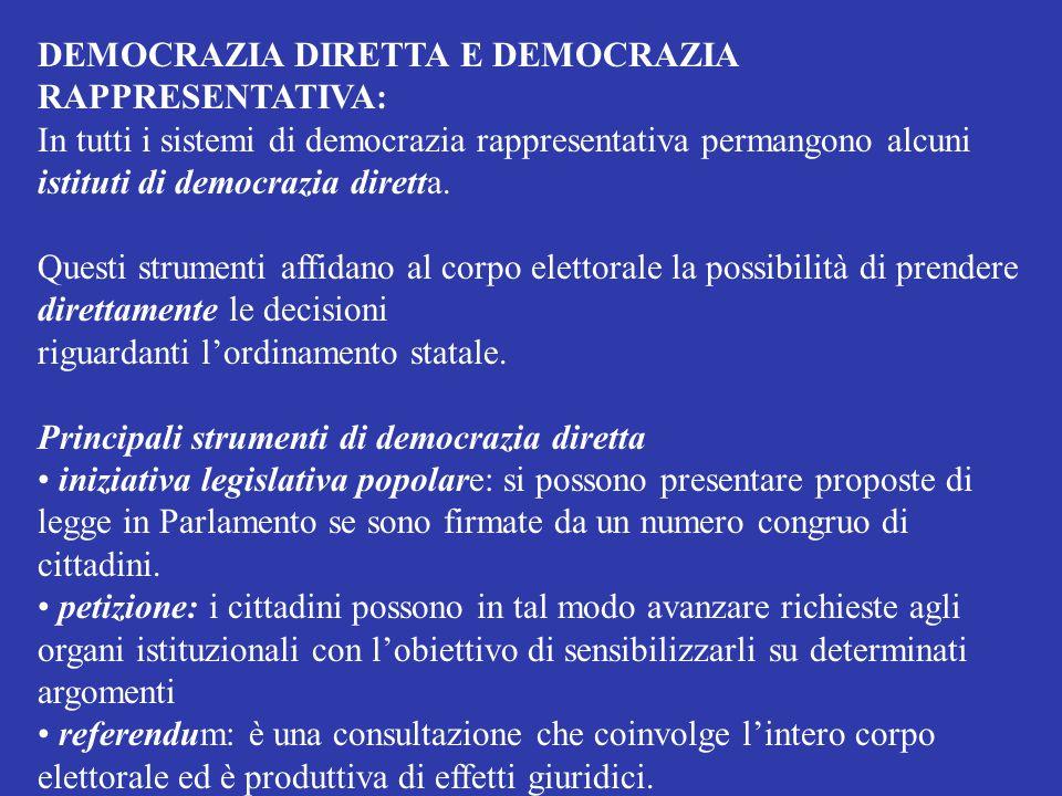 DEMOCRAZIA DIRETTA E DEMOCRAZIA RAPPRESENTATIVA: In tutti i sistemi di democrazia rappresentativa permangono alcuni istituti di democrazia diretta. Qu