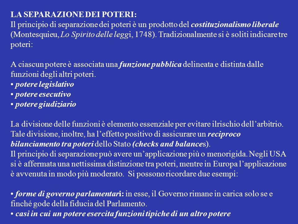 LA SEPARAZIONE DEI POTERI: Il principio di separazione dei poteri è un prodotto del costituzionalismo liberale (Montesquieu, Lo Spirito delle leggi, 1