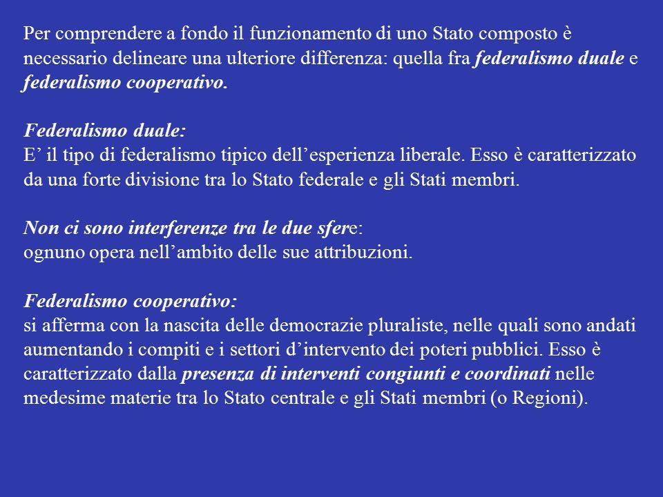 Per comprendere a fondo il funzionamento di uno Stato composto è necessario delineare una ulteriore differenza: quella fra federalismo duale e federal